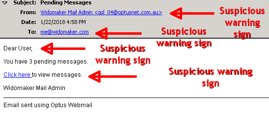 phishing message example