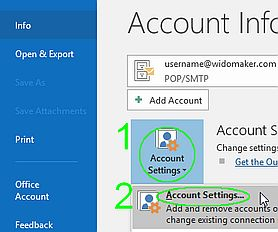Outlook Acct Settings Menu